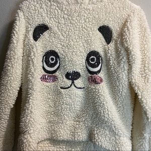 Say What? Shirts & Tops - Say What Kids Panda Fluffy white hoodie sweater